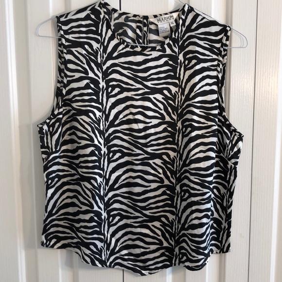Allison Taylor Tops - Allison Taylor XL 100% silk black white print top